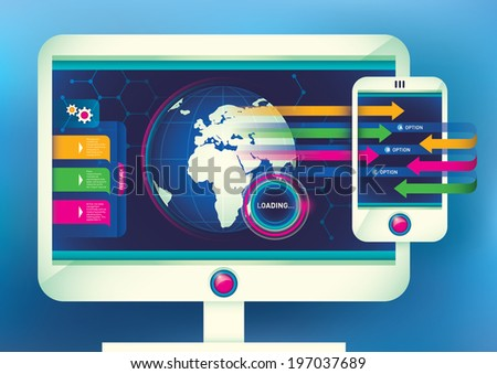 Illustration of computer and smart phone. Vector illustration. - stock vector