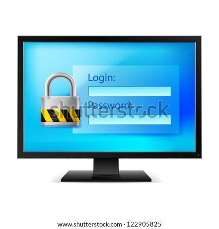 Illustration of computer with lock on white background - stock vector