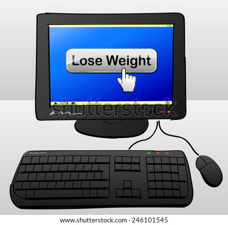 illustration of computer with lose weight button on the screen