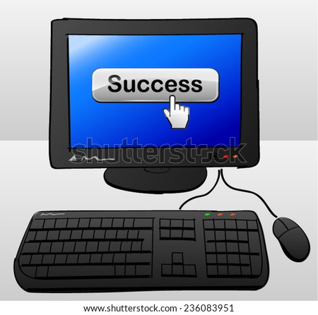 illustration of computer with success word on screen