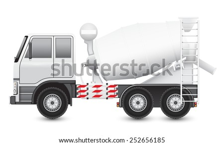 Illustration of Concrete truck isolated on white background. - stock vector