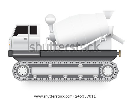 Illustration of Concrete truck with track wheel isolated on white background.