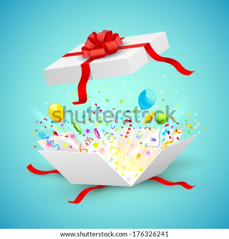 illustration of confetti and ballons coming out of surprise gift - stock vector