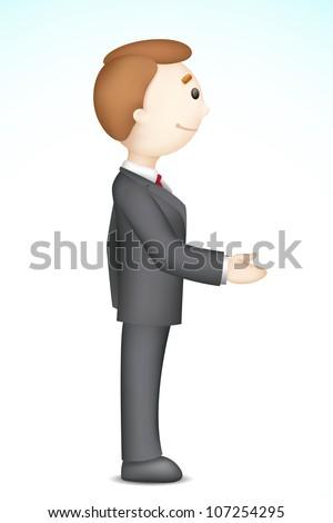 illustration of confident 3d business man in vector in handshake gesture - stock vector
