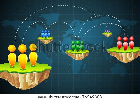 illustration of connection between different part of world - stock vector