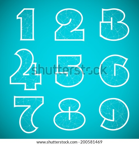 Illustration of Connections Alphabet Vector Font Set 4 Numbers 1 to 9 - stock vector