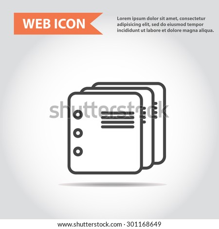 Illustration of copy-book for learning and writing, paper document, web icon, vector. - stock vector