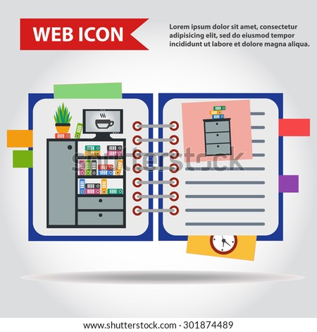 Illustration of copy-book for learning and writing, paper document web icon, vector. With drawn office furniture set, interior. Case, box with folders, television and plant. - stock vector