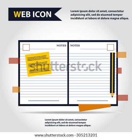 Illustration of copybook for learning and writing, paper document with pencil web icon, vector.