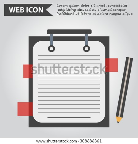 Illustration of copybook of folder for learning and writing, paper document with pencil web icon, vector. - stock vector