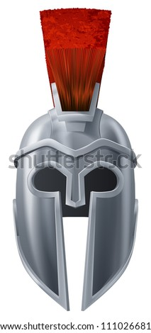 Illustration of Corinthian or Spartan helmet like those used in ancient Greece or Rome