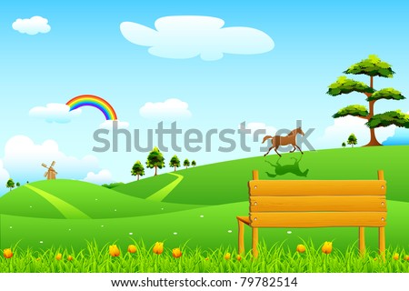 illustration of countryside rural scene with park bench - stock vector