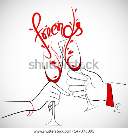 illustration of couple holding glass of wine forming friends splash - stock vector