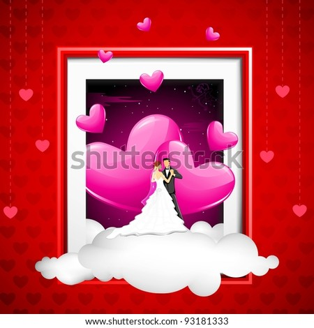 illustration of couple on cloud coming out of photo frame - stock vector