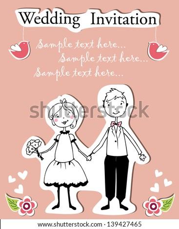 illustration of couple on wedding invitation template - stock vector
