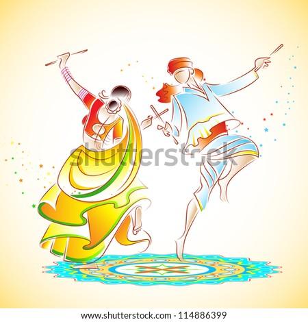 illustration of couple playing dandiya on rangoli - stock vector