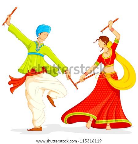 illustration of couple playing dandiya on white background - stock vector