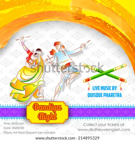 illustration of couple playing garba in disco dandiya poster - stock vector