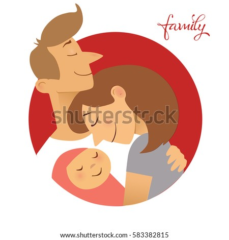 Illustration of couple with baby. Concept of maternity, love and care.