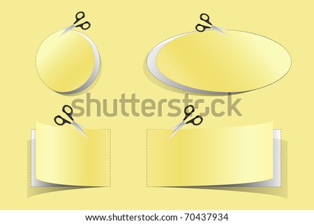 illustration of coupon cut from sheet of paper - stock vector