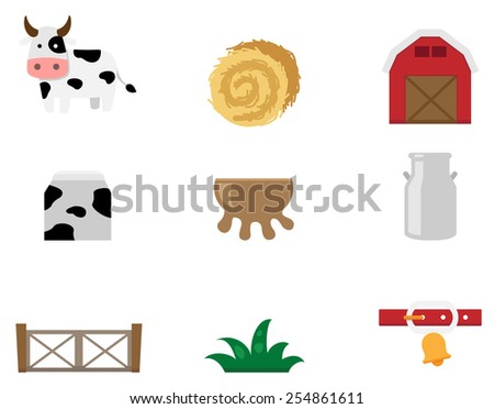 illustration of cow farm icon vector - stock vector