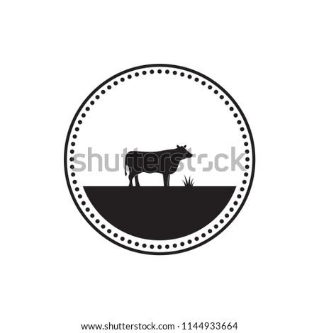 illustration cow logo design template vector stock vector 1144933664