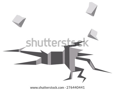 Illustration of crack on wall - stock vector