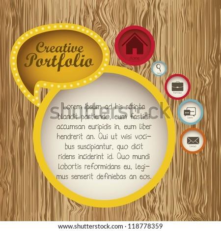 Illustration of  creative portfolio. Portfolio with icons. Vector illustration - stock vector