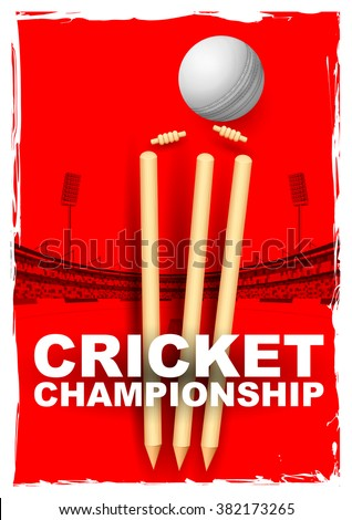 illustration of cricket stumps and bails hit by a ball in stadium - stock vector