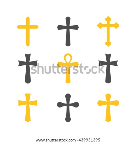 Illustration of crosses. Set of crosses. Crosses isolated on a white background. Silhouettes of crosses. Different types of crosses. - stock vector