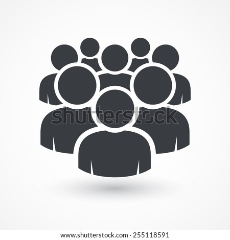 Illustration of crowd of people icon silhouettes vector. Social icon. Flat style design. User group network. Corporate team group. Community member icon. Business team work activity. Staff unity icon