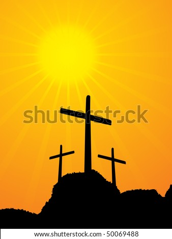 illustration of 3 crucifixion crosses on hill at sunrise background - stock vector