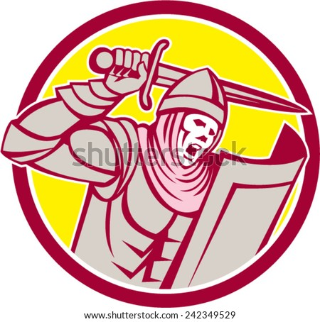 Illustration of crusader knight in full armor with shield brandishing wielding a sword set inside circle on isolated background done in retro style. - stock vector