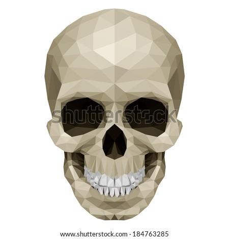 Illustration of crystal skull on white background - stock vector