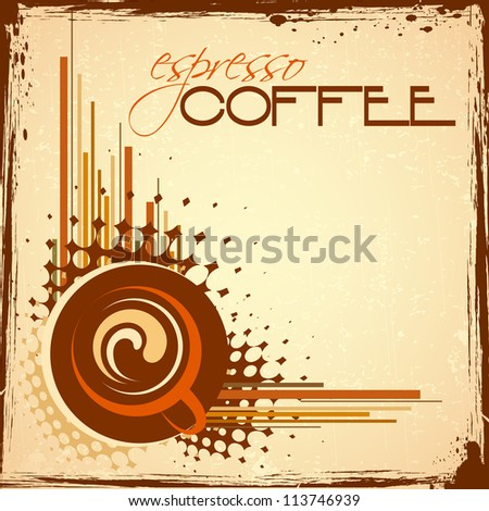 illustration of cup of hot coffee on abstract background - stock vector