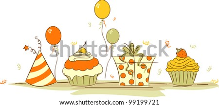 Illustration of Cupcakes and Other Birthday Related Elements - stock vector