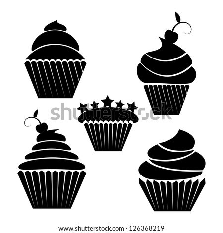 illustration of  cupcakes in black isolted on white - stock vector