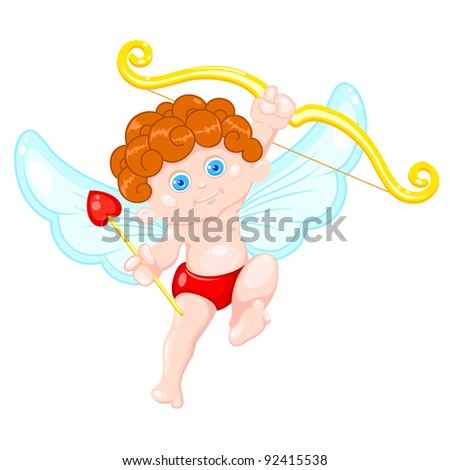 illustration of cupid holding bow and arrow on white background - stock vector