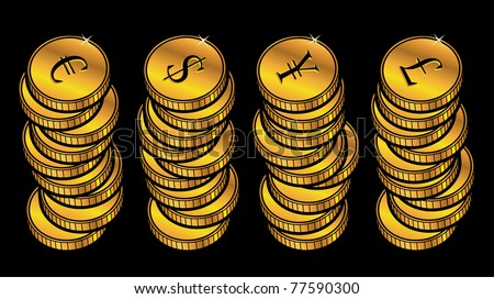 illustration of currency golden coins in vector format - stock vector
