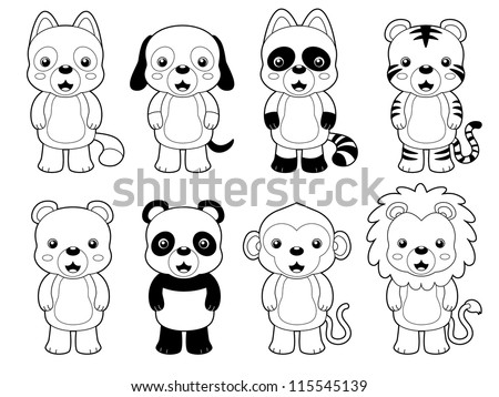 illustration of cute animal set outline.vector - stock vector