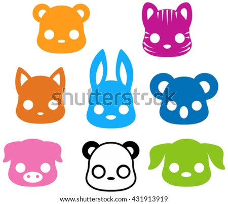 Illustration of cute animal silhouette collection - stock vector