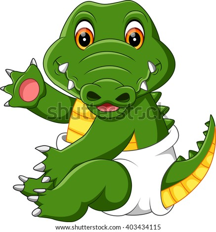 illustration of cute baby crocodile cartoon - stock vector