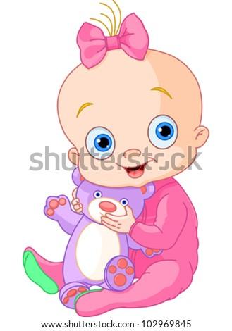Illustration of Cute baby girl with Teddy Bear - stock vector