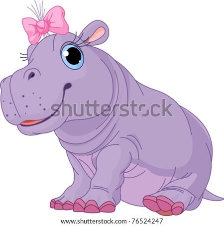 Illustration of cute baby Hippo girl - stock vector