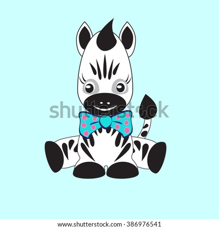 Illustration of Cute baby zebra. Vector cartoon cute baby animal with colorful bow on light blue background.  - stock vector