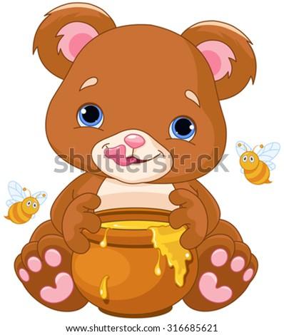 Illustration of cute bear preparing to eat honey - stock vector