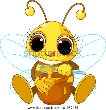 Cute Bee Logo Illustration of Cute Bee