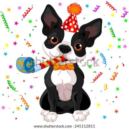 Illustration of cute Boston terrier celebrating - stock vector