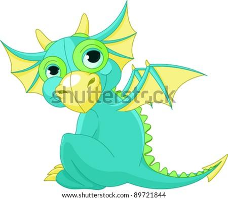 Illustration of Cute Cartoon baby dragon - stock vector
