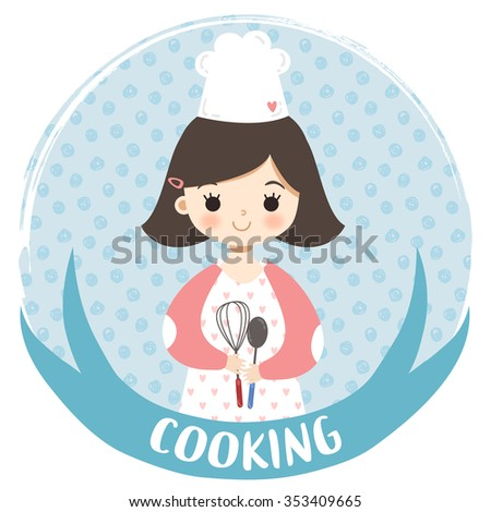 illustration of cute cartoon cooking girl with plant in hand onto circle frame. can be used for greeting cards and party invitations - stock vector